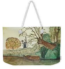 Weekender Tote Bag featuring the painting Old Willow And Boat by Tracey Williams