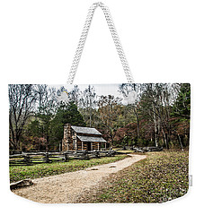 Weekender Tote Bag featuring the photograph Oliver's Log Cabin by Debbie Green