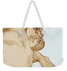 Weekender Tote Bag featuring the drawing Olympic Athletics Discus Throw by Greta Corens
