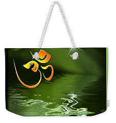 Weekender Tote Bag featuring the mixed media Om On Green With Dew Drop by Peter v Quenter
