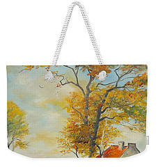 Weekender Tote Bag featuring the painting On Country Road  by Sorin Apostolescu
