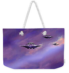 Weekender Tote Bag featuring the painting Sky  Patrol by Hartmut Jager