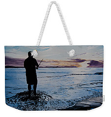 On The Beach Fishing At Sunset Weekender Tote Bag