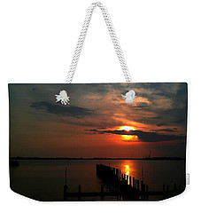 Weekender Tote Bag featuring the photograph On The Boardwalk by Debra Forand