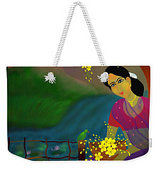 Weekender Tote Bag featuring the digital art On The Eve Of Golden Shower Festival by Latha Gokuldas Panicker