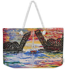 On The Hour. The Sailboat And The Steel Bridge Weekender Tote Bag by Andrew J Andropolis