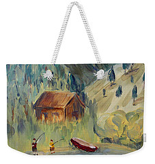 Weekender Tote Bag featuring the painting On The Lake by Maria Langgle