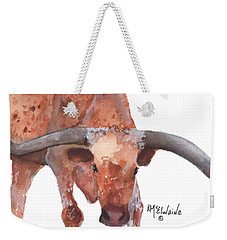 On The Level Texas Longhorn Watercolor Painting By Kmcelwaine Weekender Tote Bag by Kathleen McElwaine