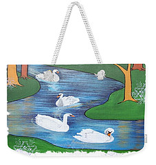 On The Seventh Day Of Christmas Weekender Tote Bag by Tracey Harrington-Simpson