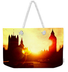 Weekender Tote Bag featuring the digital art Big Ben On The Thames by Fine Art By Andrew David