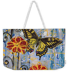 Weekender Tote Bag featuring the painting On The Wings Of A Dream by Jane Chesnut