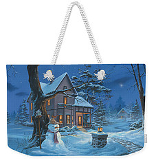 Weekender Tote Bag featuring the painting Once Upon A Winter's Night by Michael Humphries