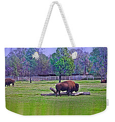 One Bison Family Weekender Tote Bag by Miroslava Jurcik