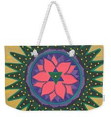 Weekender Tote Bag featuring the painting One Gold Bindu by Mini Arora