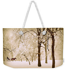 One Horse Open Sleigh Weekender Tote Bag by Jessica Jenney