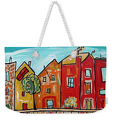 Weekender Tote Bag featuring the painting One House Has A Screen Door by Mary Carol Williams