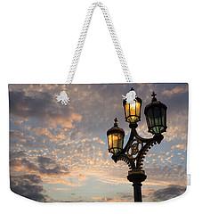 One Light Out - Westminster Bridge Streetlights - River Thames In London Uk Weekender Tote Bag by Georgia Mizuleva