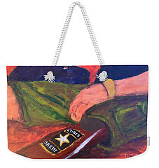 Weekender Tote Bag featuring the painting One Team Two Heroes - 2 by Donald J Ryker III