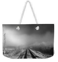 Onward - Railroad Tracks - Fog Weekender Tote Bag