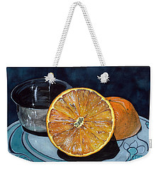 Weekender Tote Bag featuring the painting Orange And Silver by Barbara Jewell