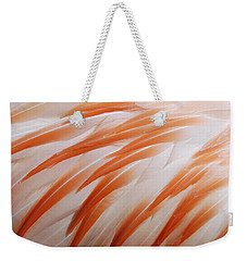 Orange And White Feathers Of A Flamingo Weekender Tote Bag