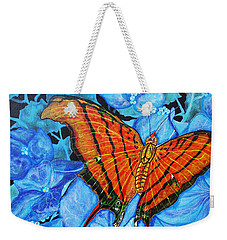 Weekender Tote Bag featuring the painting Orange Butterfly by Debbie Chamberlin