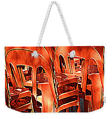 Orange Chairs Weekender Tote Bag by Valerie Reeves