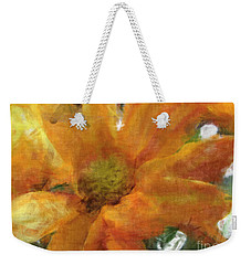 Orange Chrysanthemem Photoart Weekender Tote Bag by Debbie Portwood
