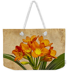 Orange Clivia Lily  Weekender Tote Bag by Sandra Foster