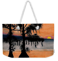 Weekender Tote Bag featuring the drawing Orange Cypress Sunset by D Hackett