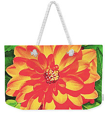 Weekender Tote Bag featuring the painting Orange Dahlia by Sophia Schmierer
