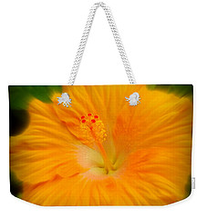 Weekender Tote Bag featuring the photograph Orange Hibiscus Flower by Clare Bevan