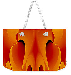 Weekender Tote Bag featuring the mixed media Orange Mask by Rafael Salazar