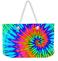 Orange Pink And Blue Tie Dye Spiral Weekender Tote Bag