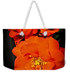 Weekender Tote Bag featuring the photograph Orange Rose Trio by Joann Copeland-Paul