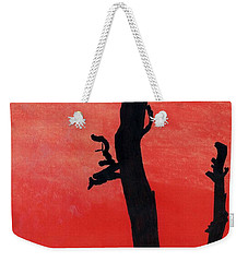 Weekender Tote Bag featuring the drawing Orange Sunset Silhouette Tree by D Hackett