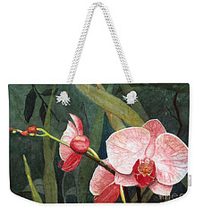 Weekender Tote Bag featuring the painting Orchid Trio 2 by Barbara Jewell