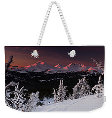 Weekender Tote Bag featuring the photograph Oregon Cascades Winter Sunset by Kevin Desrosiers