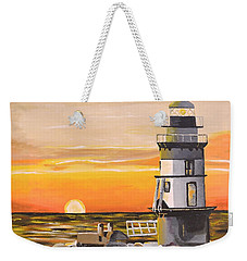 Orient Point Lighthouse Weekender Tote Bag by Donna Blossom