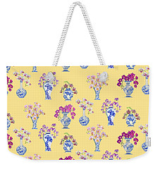 Oriental Vases With Orchids Weekender Tote Bag by Kimberly McSparran