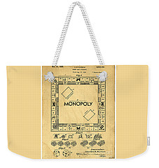 Original Patent For Monopoly Board Game Weekender Tote Bag by Edward Fielding
