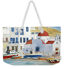 Weekender Tote Bag featuring the painting Watercolor - Mykonos Greece Detail by Cascade Colors