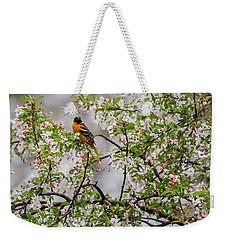 Oriole In Crabapple Tree Weekender Tote Bag by Bill Wakeley