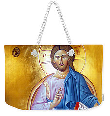 Orthodox Icon Of Jesus In Blue Weekender Tote Bag by Munir Alawi