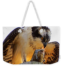 Weekender Tote Bag featuring the photograph Osprey Breakfast by Dianne Cowen