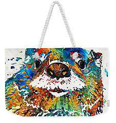Weekender Tote Bag featuring the painting Otter Art - Ottertude - By Sharon Cummings by Sharon Cummings