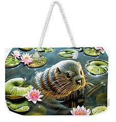 Otter In Water Lilies Weekender Tote Bag