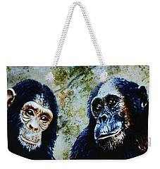 Weekender Tote Bag featuring the painting Our Closest Relatives by Hartmut Jager