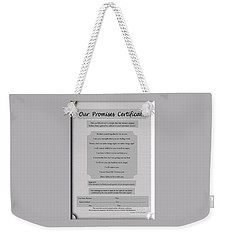 Our Promises Certificate Weekender Tote Bag