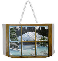 Out My Window-bright Winter's Night Weekender Tote Bag